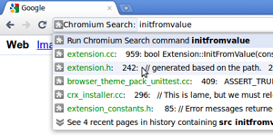 A screenshot showing suggestions related to the keyword 'Chromium Search'